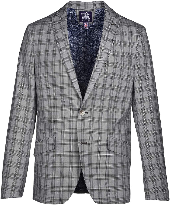 Savile Row Co. Men's Slim Fit Glen Plaid Stretch Blazer Jacket Sport Coat