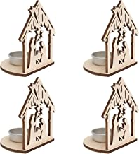 KESYOO 4pcs Wooden Candlestick Wooden Blank Hollow Out House Pattern Candle Holder Tealight Candle Container Desk Centerpi...