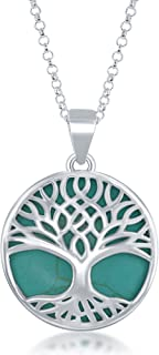 Beaux Bijoux Sterling Silver Natural Turquoise/Abalone/Mother-of-Pearl Stone Tree of Life Circle Pendant with 18