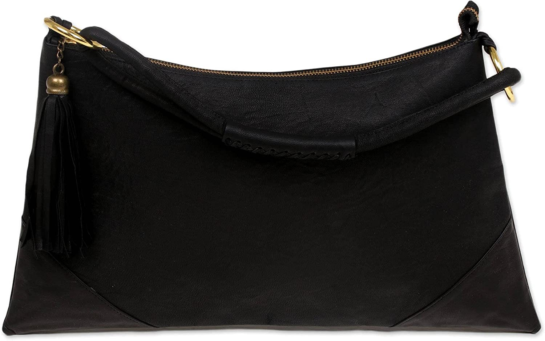NOVICA Black Leather Hobo Handbag, Sophistication In Black'