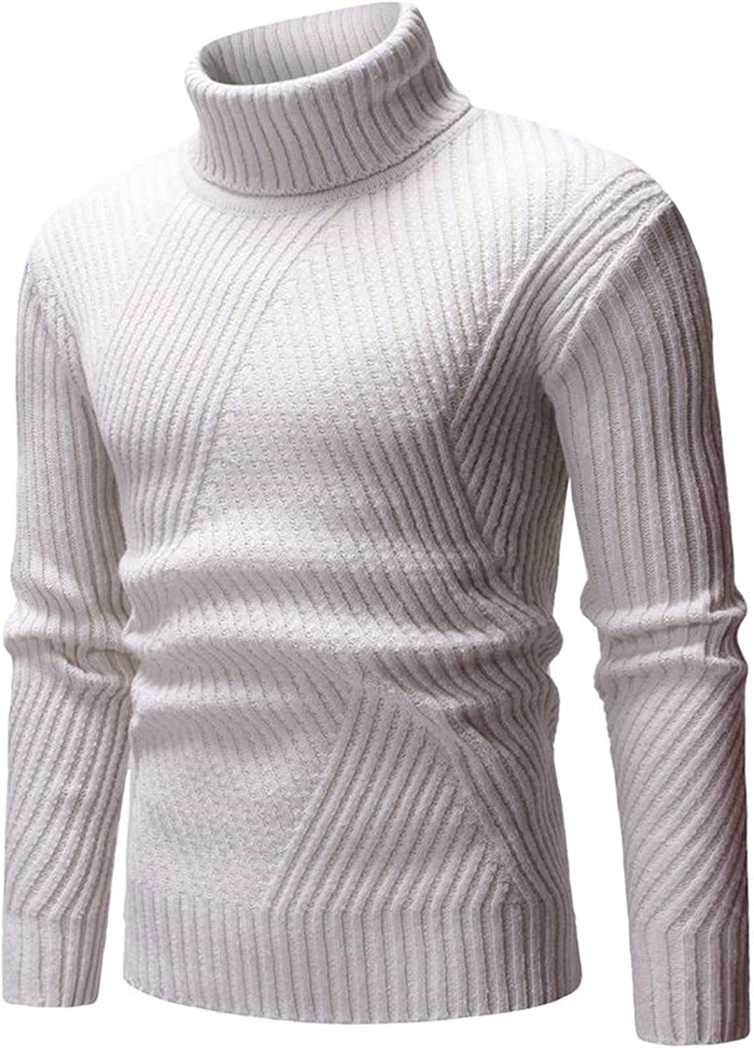XXBR Turtleneck Sweater for Mens, Fall High Neck Knitted Pullover Long Sleeve Workout Slim Fit Basic Casual Jumper Tops