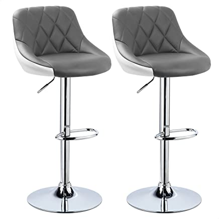 WOLTU Bar Stools Grey+White Bar Chairs Breakfast Dining Stools for Kitchen Island Counter Bar Stools Set of 2 pcs Leatherette Exterior/Adjustable Swivel Gas Lift/Chrome Steel Footrest & Base