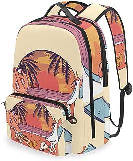 Mochila con Bolsa Cruzada Desmontable, diseño de Unicornio y Flamenco, Mochila de computadora para Viajes, Senderismo, Acampada