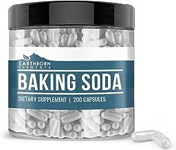 Baking Soda Capsules (200 Capsules, 1,740 mg/Serving) by Earthborn Elements, Sodium Bicarbonate Antacid for Acid Indigesti...