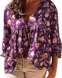 PEIZH Women Floral Printed Shirt V-Neck Top Fashion Print Shirt V-Neck Blouse Loose Long Sleeve Top