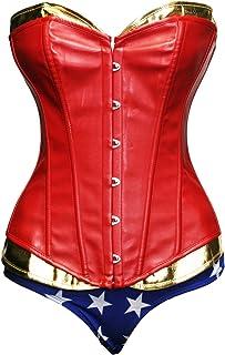 Bslingerie® - Disfraces de Hallowen para mujer, corsé de cuero sintético  rojo rosso Medium