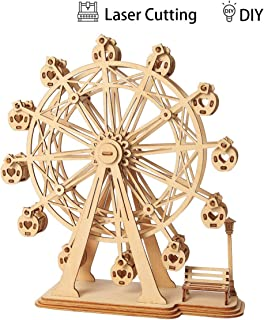 Robotime 3D Puzzle Ferris Wheel Wooden Jigsaws Kit Wooden Puzzles DIY Hand Craft Mechanical Toy Gift for Kids Teens AdultsP