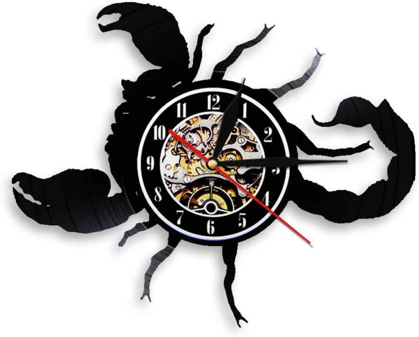 ZFANGY Escorpio Relojes Zodiaco Arte de la Pared Signo de Estrella Reloj Colgante Iluminación LED Rock N Roll Vinilo LP Registro Reloj de Pared Regalo para Escorpio sin LED