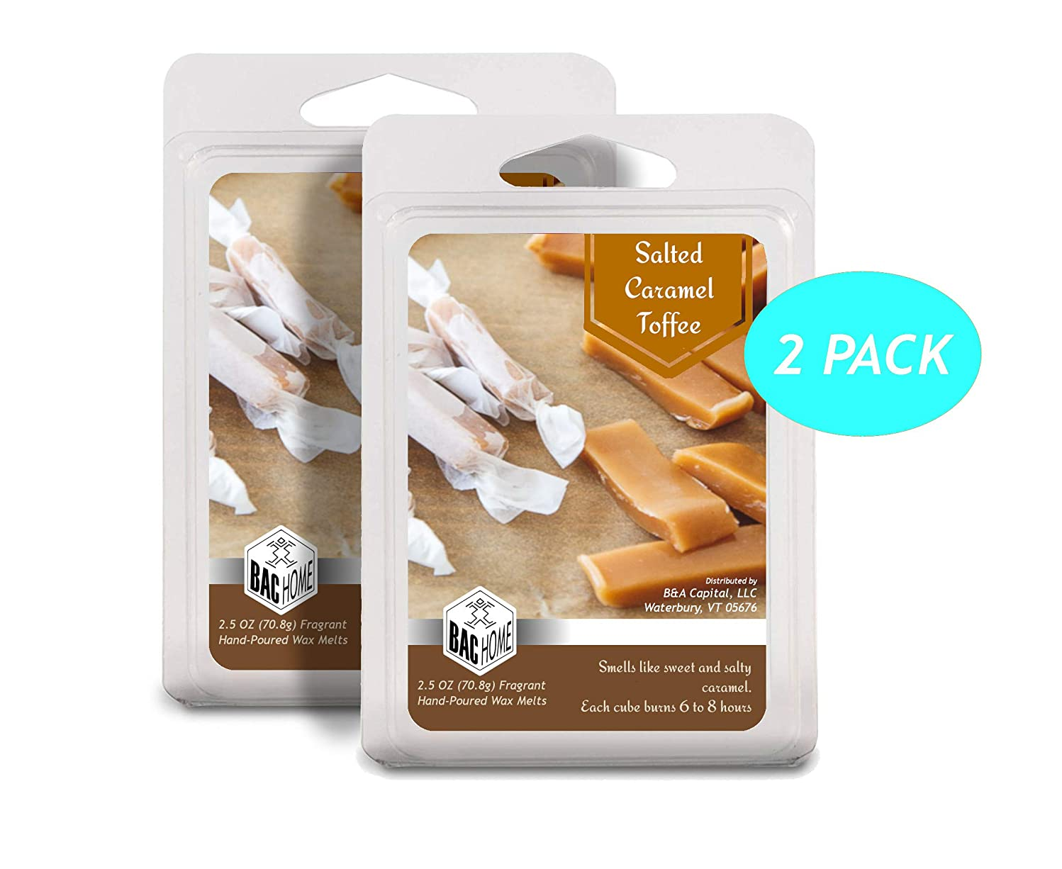 BAC Home Salted Caramel Toffee Soy Blend Scented Wax Melts Wax Cubes, 2.5 oz, [6 Cubes] (2)