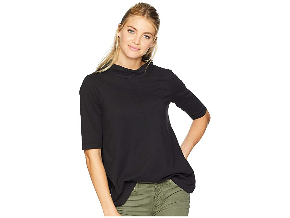 Mod-o-doc Classic Jersey Button Neck Elbow Sleeve Tee with Pleated Back (Black) Women