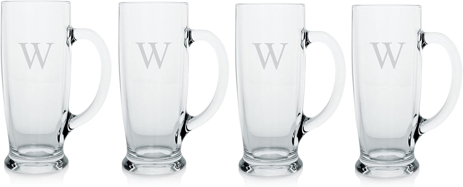 Cathy's Concepts Personalized Craft Beer Mugs, Set of 4, Letter W