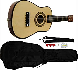 Shop4Omni Mini Kids Acoustic Toy Guitar Kit Gig Bag + Picks + Strap + Tuner - Natural Wood
