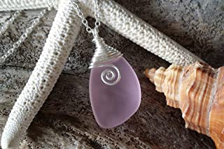 """product image for Handmade in Hawaii, wire wrapped""""October Birthstone Color"""" pink sea glass necklace, (Hawaii Gift Wrapped, Customizable Gift Message)"""