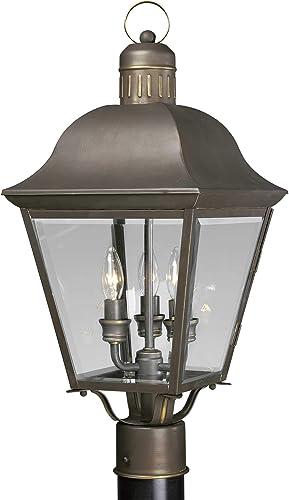new arrival Progress Lighting P5487-20 3-Lt. Post Lantern, sale 9-1/2-Inch Diameter x 20-1/2-Inch Height, popular Antique Bronze outlet sale