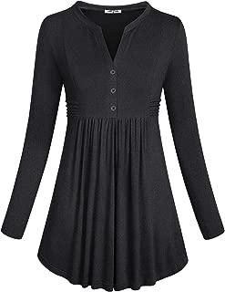 Women's Long Sleeve Mandarin Collar Shirt Pleated Flare Tunic Tops