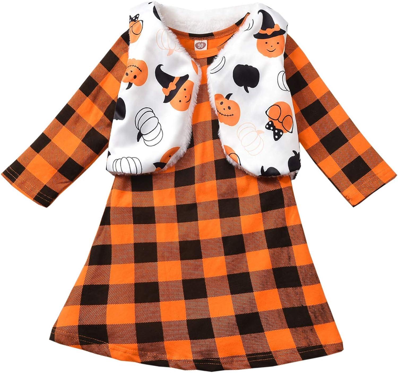 fioukiay Toddler Girls Halloween Outfits Plaid 2PC Ranking TOP5 Price reduction D Kids Orange