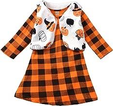 Fioukiay Toddler Girls'-Boutique-Outfit-Clothes-Dresses Set 2PCS Long Sleeve Buffalo Plaid Dress and Faux Fur Vest Coat