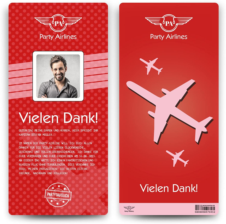 Danksagungskarten (50 Stück) - Flugticket - Boarding Boarding Boarding Pass Dankeskarten Danksagung in Rot B01N6SMYQS   Hohe Qualität und geringer Aufwand  6bdf9d