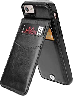 iPhone 7 iPhone 8 Case Wallet with Credit Card Holder, KIHUWEY Premium Leather Magnetic Clasp Kickstand Heavy Duty Protective Cover for iPhone 7/8 4.7 Inch(Black)