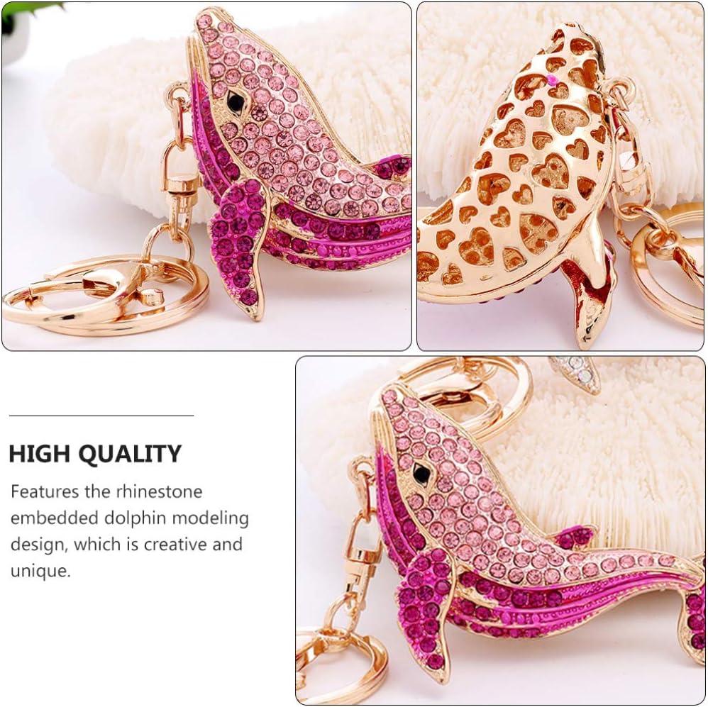 Happyyami Cute Dolphin Charm Bling Keychain Crystal Rhinestone Pendant Key Rings Bag Charm Car Cell Phone Decor Ornament Gifts for Nautical Gift Pink