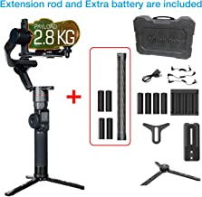 Feiyutech AK2000 Gimbal Stabilizer Compatible for Various DSLR Camera, Nikon/Sony/Canon Payload 2.8kg/6.17lb, with Tripod,Extension Rod,Extra Battery LCD Touch Screen WiFi + Bluetooth Dual Module
