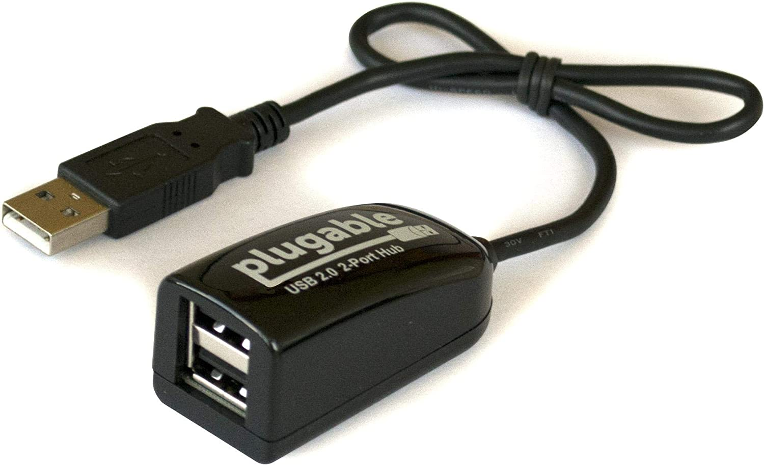 Plugable USB 2.0 2-Port High Speed Ultra Compact Hub Splitter (480 Mbps, USB 2.0, Compatible with Windows, Linux, macOS, Chrome OS)