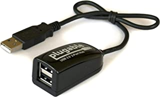 Plugable USB 2.0 2-Port High Speed Ultra Compact Hub Splitter (480 Mbps, USB 2.0, Compatible with Windows, Linux, macOS, C...