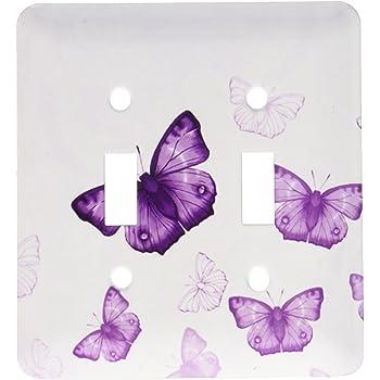 Multicolor 3dRose lsp/_101505/_6 Pretty Transparent Purple Butterflies 2 Plug Outlet Cover