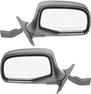 Manual Side View Mirrors Chrome & Black Left & Right Pair Set for F-Series Truck