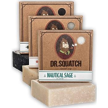 Dr. Squatch Men's Soap Sampler Pack (3 Bars) – Pine Tar, Cedar Citrus, Nautical Sage – Natural Manly Scented Organic Soap for Men (3 Bar Bundle Set)