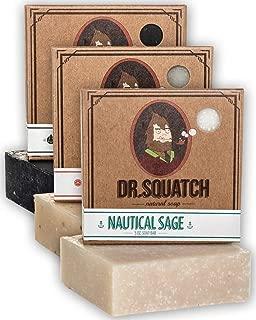 Dr. Squatch Men's Soap Sampler Pack (3 Bars) – Pine Tar, Cedar Citrus, Nautical..