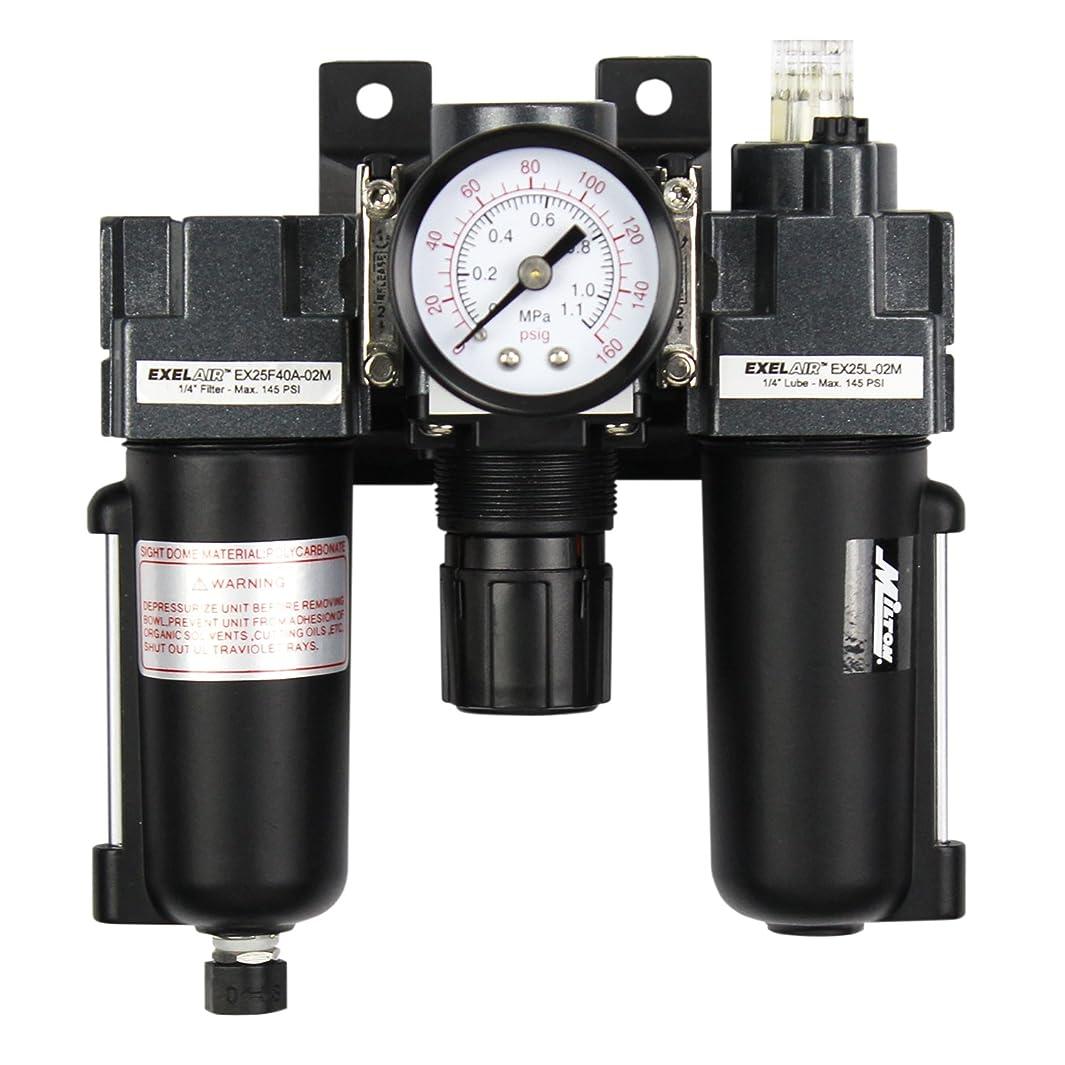 EXELAIR by Milton FRL (Mini) Air Filter, Regulator, and Lubricator System - 1/4