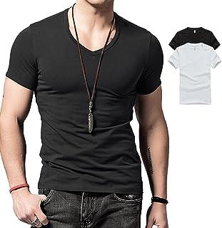 Wiekose 2 Pack Gym Mens Short V-Neck T-Shirt