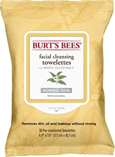 Burt's Bees 99.1% Natural Facial Cleansing Towelettes, Face Wipes for Normal Skin with White Tea Extract, 30 Count