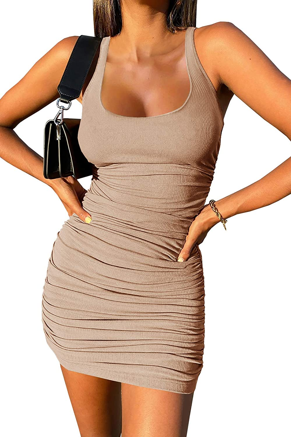 Qiuwon Womens Casual Ribbed Ruched Tank Dress Scoop Neck Bodycon Sleeveless Mini Club Dresses