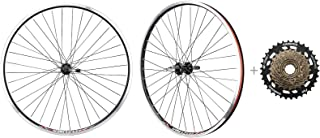 """CyclingDeal Bicycle Mountain Bike 26 inch Double Wall Rims MTB Wheelset 26"""" 7 Speed with Compatible with Shimano MF-TZ500-..."""