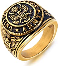 JAJAFOOK Vintage Titanium Steel US Military Army Ring Eagle Medal Rings for Men, Silver/Gold