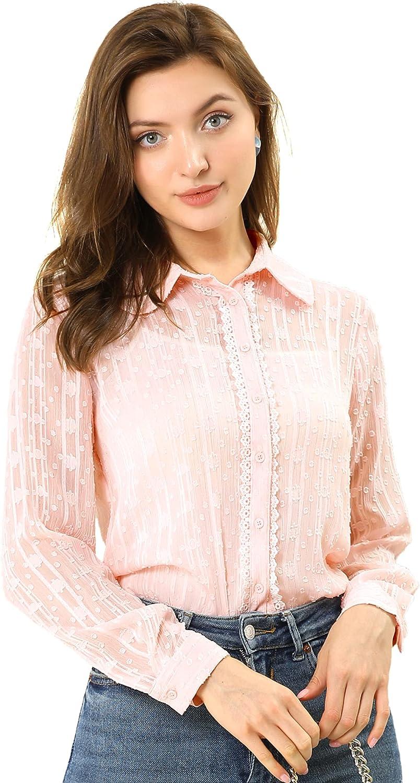 Allegra K Women's Peter Pan Collar Textured Blouse Button Down Shirt