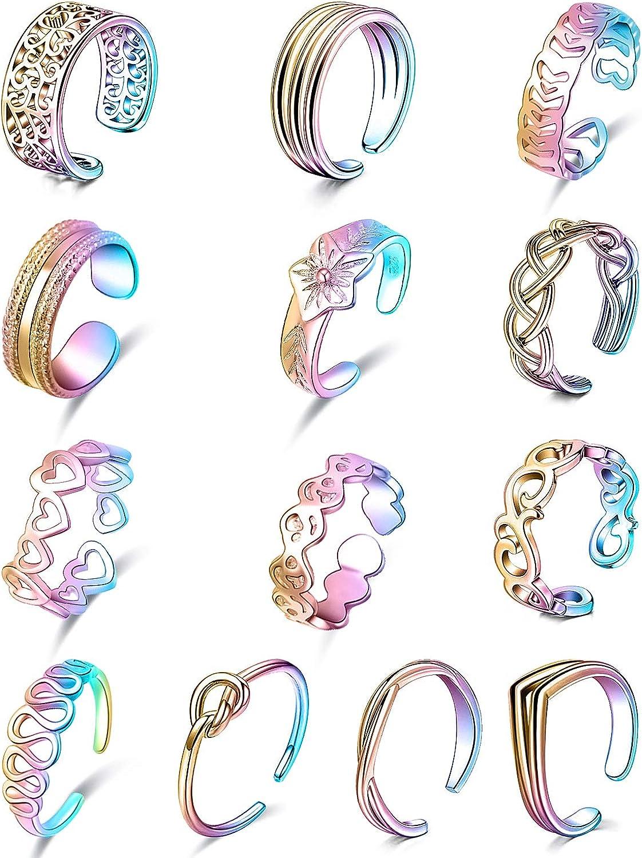 Kadogohno Toe Rings Open Toe Rings for Women Knuckle Rings Adjustable Toe Rings Summer Beach Rose Gold Silver Black Rainbow Gold Hypoallergenic Flower Arrow Band Finger Foot Jewelry Toerings Set