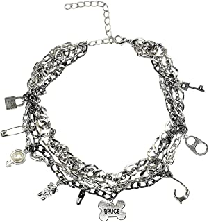 Goqun Anime Harley Necklace Multi-Layer Metal Necklace with Charms