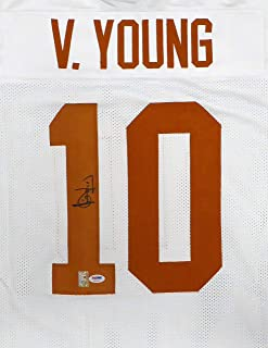 Texas Longhorns Vince Young Autographed White Jersey PSA/DNA