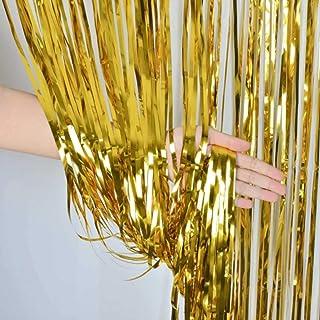ZagGit Set of 2 Metallic Gold Foil Fringe Party Decoration Door Curtains, 3 x 8 Feet