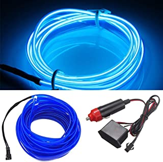 HomDSim 118inch 300cm Auto Car Interior Decor LED Neon Light Lamp Glow EL Wire String Strip 12V (197inch/500cm, blue)