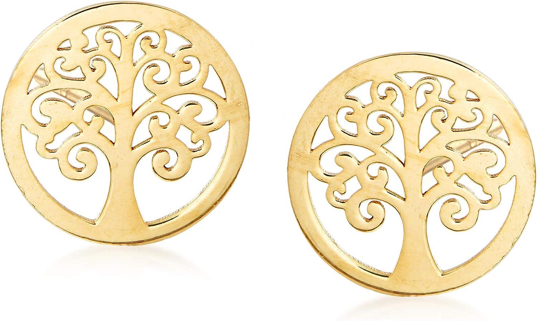 Ross-Simons Italian 14kt Yellow Gold Tree Of Life Stud Earrings