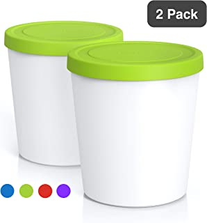 BALCI - Premium Ice Cream Containers (2 PACK - 1 Quart Each) Perfect Freezer Storage Tubs with Lids for Ice Cream, Sorbet and Gelato! (GREEN)