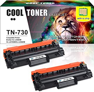 [With Chip] Cool Toner Compatible Toner Cartridge Replacement for Brother TN730 TN760 MFC-L2710DW HL-L2350DW for Brother HL-L2395DW DCP L2550DW MFC-l2750dw HL L2390DW HL-L2370dw HLL2350DW Printer-2PK