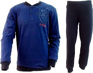 58da4b9b2246 pigiama uomo lungo caldo cotone interlock IL GRANCHIO homewear art. GP553