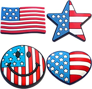 Patriotic Red White and Blue Rubber Charm Set
