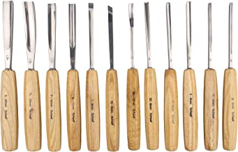 SCHAAF Full Size Wood Carving Tools Set of 12 with Canvas Case – Gouges and Chisels..