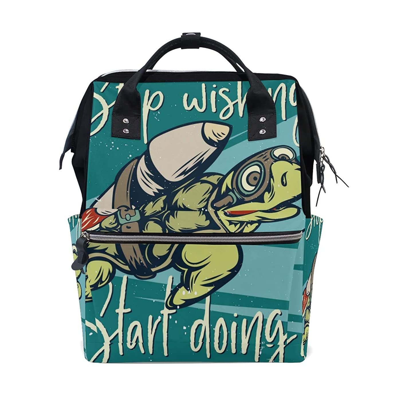 Cool Sea Turtle Rocket School Backpack Large Capacity Mummy Bags Laptop Handbag Casual Travel Rucksack Satchel For Women Men Adult Teen Children dzu2039374